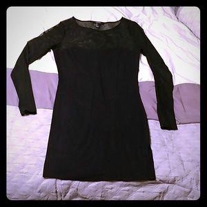 Forever 21 Black Mesh & Knit Long Sleeve Dress